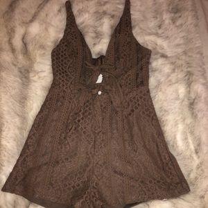 Crochet nude/brown romper